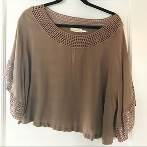 The Addison Story Silk and Crochet Lace Boxy Top